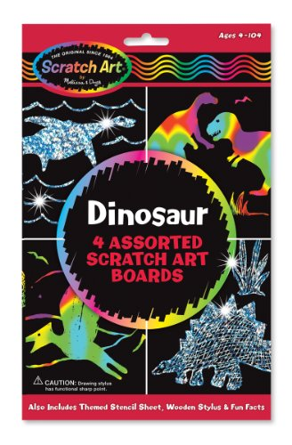 Melissa amp Doug Scratch Art Activity Kit: Dinosaurs  4 Holographic Boards