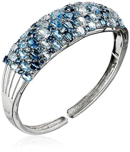 Sterling Silver Tonal Blue Topaz Cuff (Silver Blue Topaz Cuff)