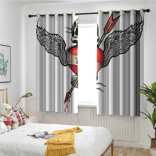 MaryMunger Tattoo Thermal Insulated Blackout Curtains Angel Wings with Skull and Heart Full of Blood Symbol of Real Love Image Draft Blocking Draperies W 55