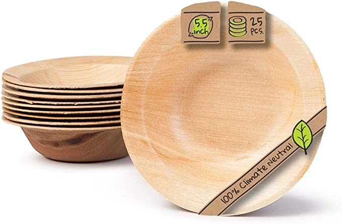 COMPOSTABLE|VARIOUS SIZES PALM LEAF|BIODEGRADABLE ROUND BOWLSPACK OF 25 PCS