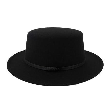 4f6c5c851dc Haluoo Unisex Felt Fedora Hat Classic Wide Brim Flat Top Felt Panama Hat  Jazz Hat Gatsby