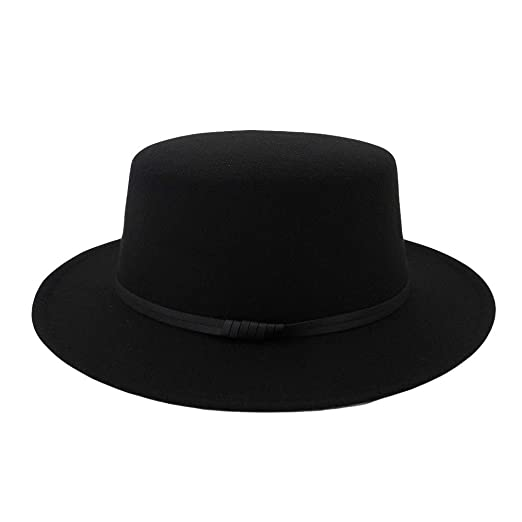 JESPER Unisex Wide Brim Wool Belt Felt Flat Top Fedora Hat Party Church Trilby  Hats Cap b3f4a999b0fe