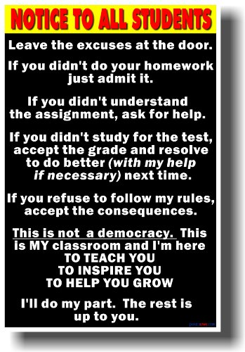 Notice to Students Big Text - Classroom Motivational Poster