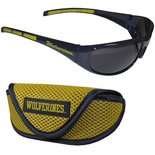 an Wolverines Wrap Sunglasses & Sport Case, Blue (Michigan Wolverines Sunglasses)