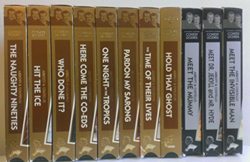 11 Volume Set of Abbott & Costello Comedy Legends: The Naughty Nineties, Hit The Ice, Who Done It?, Here Come The Co-Eds, One Night in the Tropics, Pradon My Sarong, The Time of Their Lives, Hold That Ghost, Meet The Mummy, Meet Dr. Jekyll and Mr. Hyde, Meet The Invisible Man