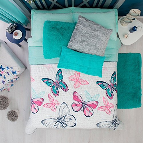 NEW PRETTY COLLECTION BUTTERFLY GRAY,MINT TEENS GIRLS WINTER COMFORTER SET 3 PCS QUEEN SIZE (Set Mint Butterfly)