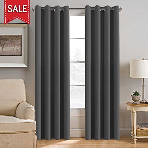 H.Versailtex Thermal Insulated Full Blackout Window Shades,Gun Metal Color Grommet Curtains for Bedroom/Living Room,-52