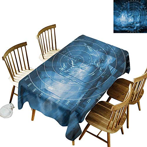 Barbecue Long Tablecloth W54 x L72 Navy Blue Modern Ship with Radar Exposure in Screen Digital Electronic Hi Tech Futuristic Concept Blue Suitable for Home Coffee Bar Party Wedding & ()