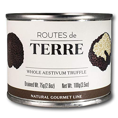 Whole Black Truffles (Real Truffles Preserved in Natural Juices, Delicious for Gourmet Italian and French Recipes) by Routes de Terre