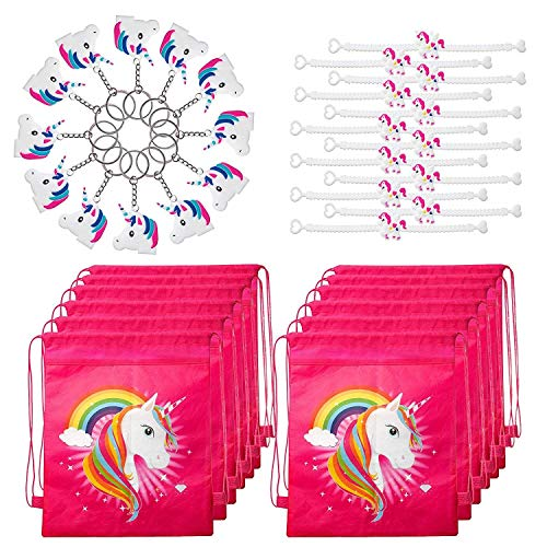 Unicorn Party Favors Pack with Unicorn Goodie Bags, Unicorn Bracelets, and Unicorn Keychains for 12 Kids]()