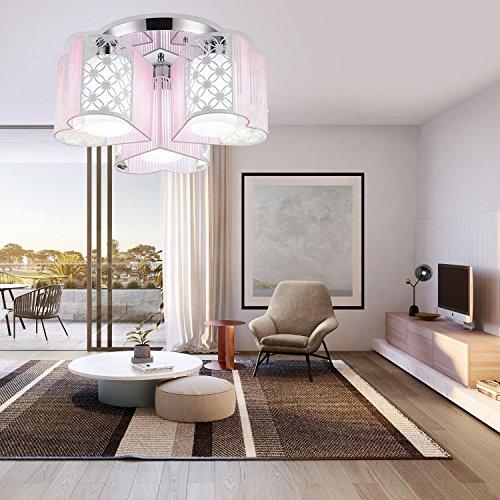 LightInTheBox Modern Art Deco Fabric Chandelier Pink Pendant Flush Mount Ceiling Fixtures Light 3 Lamps For Dining Living Study Rooms Light Source White
