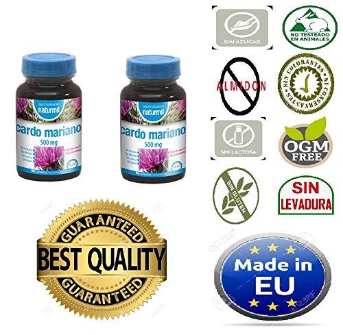 Cardo Mariano 500 mg 180 comprimido (dos botes de 90) sin aditivos, extracto seco de Silimarina, depurativo limpiador y desintoxicante natural para el ...