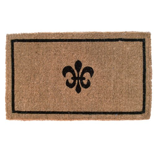 Entryways Black Fleur Di Lys Handmade, Hand-Stenciled, All-Natural Coconut Fiber Coir Doormat 18