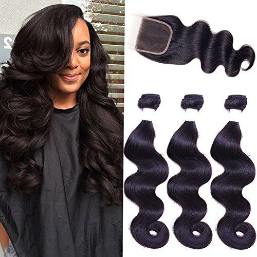 Flady Hair Brazilian Virgin Hair 3 Bundles with Closure Unprocessed 100% Human Hair Bundles with Lace Closure Brazilian Body Wave (12 14 16+10inch free part closure)