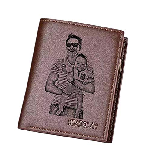 Personalized Men's Genuine Leather Trifold Custom Photo Wallet With Zipper Pocket Credit Card Holder Coin Purse Short,Brown Single Side