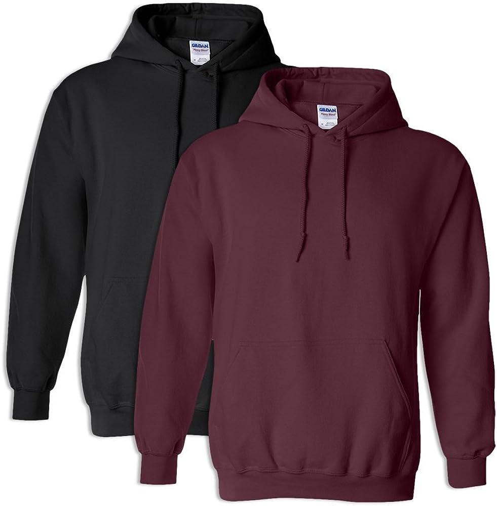 1 Maroon Gildan G18500 Heavy Blend Adult Unisex Hooded Sweatshirt 5XL 1 Black