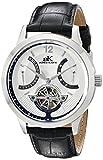 Adee Kaye Men's AK2241-MRG/SV Silvertone Case, Silver Dial, Black Band Watch