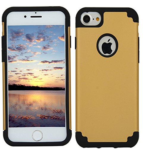 CaseHQ iPhone 7 Case, iPhone 8 Case,slim Dual Layer Silicone Rubber PC Protective Case Fit for iPhone 7 (4.7 screen),iPhone 8 (4.7 screen) Hybrid Hard Back Cover and Soft Silicone- Gold black