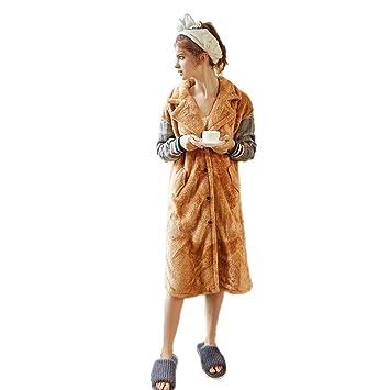 Batas para Botones De Mujer Bata para Mujer Trajes De Baño Pijamas De Lujo (Color : Caqui, Tamaño : S): Amazon.es: Hogar
