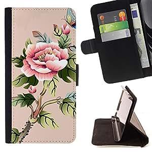 BullDog Case - FOR/HTC One M7 / - / art akvarel babochka cvety /- Monedero de cuero de la PU Llevar cubierta de la caja con el ID Credit Card Slots Flip funda de cuer
