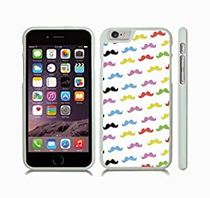 iStar Cases? iPhone 6 Case with Colorful Mustaches Background Design , Snap-on Cover, Hard Carrying Case (White)