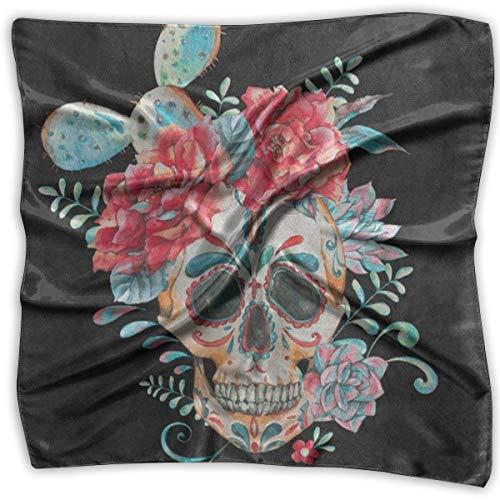 Square Scarf Cactus Rose Flower Sugar Skull Dia De Los Muertos Bandanas Unisex Scarves Tie For Men