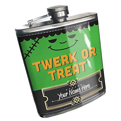 Neonblond Flask Twerk or Treat Halloween Frankenstein Custom Name Stainless Steel