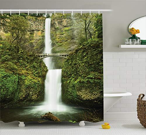 "Ambesonne Hobbits Shower Curtain, Falls of Rivendell Multnomah Waterfall Oregon with Hobbit Elf Path Bridge Scene Image, Cloth Fabric Bathroom Decor Set with Hooks, 70"" Long, Green"