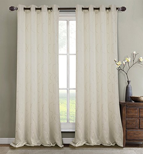 RT Designers Collection Crescent Embroidered 56 x 84 in. Lined Grommet Curtain Panel, Ivory ()