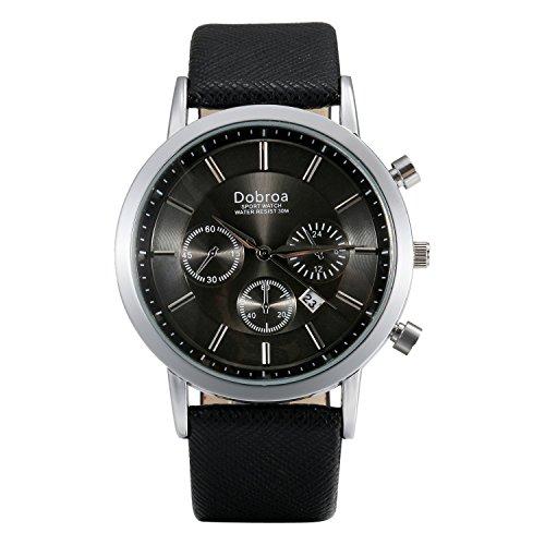 Lancardo Reloj Analógico Comercial de Correa Multifuncional de Calendario Decorado con 3 Sub-Dial Pulsera Casual de Cuarzo...