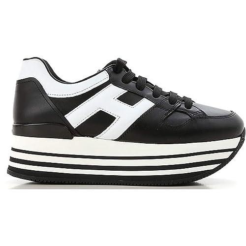 Hogan H283 Maxi H222 Sneakers Donna Allacciata Nera H Grande Bianca   Amazon.it  Scarpe e borse a8c4e207739