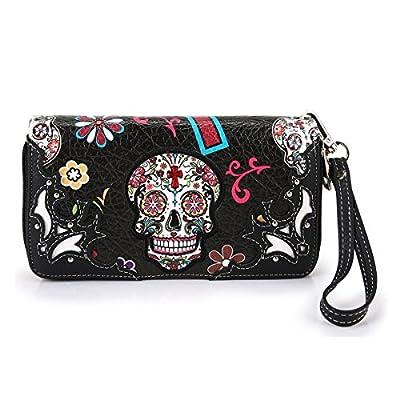 Cowgirl Trendy Western Purse Sugar Skull, Cross Clutch Wallet Day of the Dead Wristlet