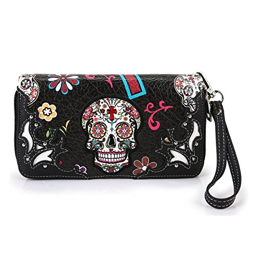 Cowgirl Trendy Western Purse Sugar Skull, Cross Clutch Wallet Day of the Dead Wristlet