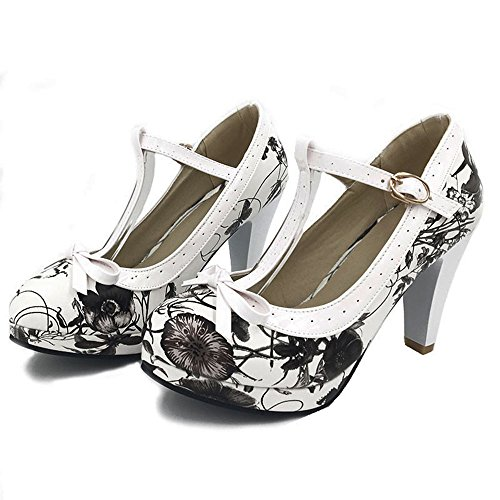 Elegant Party black High T Women Heel Shoes flower Pumps Platform TAOFFEN Strap wqU6C