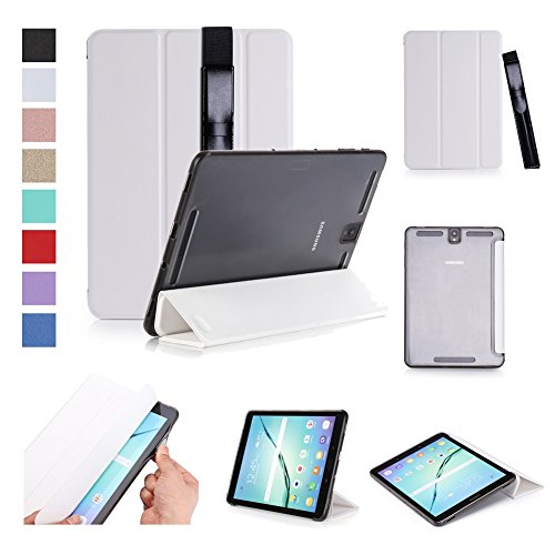 ISIN Tablet Case Series Premium PU Leather Smart Shell Case for Samsung Galaxy Tab S3 9.7 inch SM-T820 T825 Android Tablet with Stylus Holder (White) (Extended Label Holders)