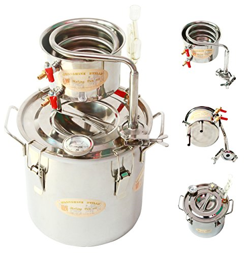 New 5 Gal 20 Litres Alcohol Moonshine Ethanol Still Spirits Stainless Steel Boiler Water Distiller Wine Making Kit (Kit Microbrewery)