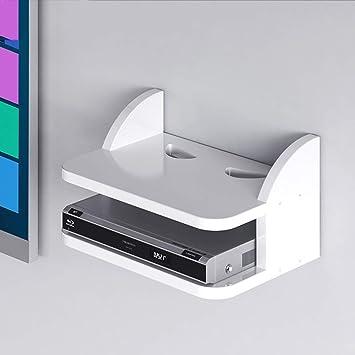 TV Rack Set-Top Box WiFi Router Caja de Almacenamiento Caja de Cable Estante de Pared Estantería Estante Pequeño Flotante Televisor Montado en la Pared Gabinete de Exhibición Multifuncional Blanco: Amazon.es: Deportes y