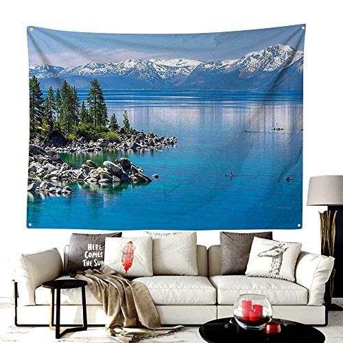 Mode Rosegal Tapestry,Blue Waters of Lake Tahoe Snowy Mountains Pine Trees Rocks Relax Shore,Bedroom Living Room Dorm Decor,80W X 60L Inches Light Blue Green Grey ()