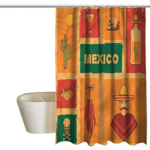 RenteriaDecor Shower Curtains Teens Mexican,Cactus Tequila Lemon Pepper,W48 x L84,Shower Curtain for clawfoot -