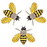 RINHOO FRIENDSHIP Cute Honeybee Animal Insect Brooches Pin Colorful Crystal Rhinestones Bee Shape Corsages Scarf Clips Jewelry For Women Girls (3PCS honeybee-yellow)