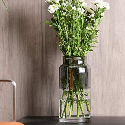 Slegan Vintage Glass Vase 12 Inch Hand Blown Optic Grey Vase for Home Decor (Misty ()