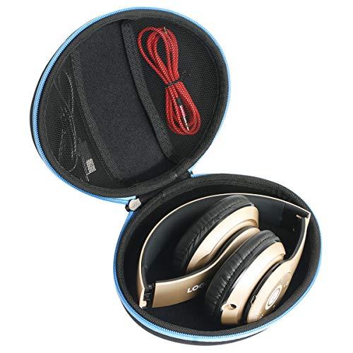 co2crea Hard Travel Case for iJoy Matte Finish Premium Rechargeable Wireless Bluetooth Over Ear Headphones Foldable Headset (Black Case + Blue Zipper)