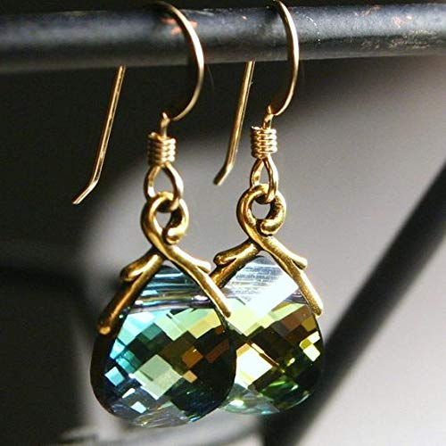 hongnguyen Golden Green Crystal Earrings Sahara Flat Briolette Drop 14K Gold Fill Petite Dangle Earthy Earth Tones Citrine Emerald Topaz ()