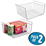 mDesign Under Shelf Hanging Wire Storage Basket for Kitchen Pantry - Pack of 2, Silver