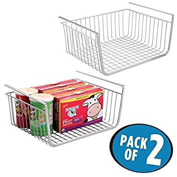 MDesign Under Shelf Hanging Wire Storage Basket For Kitchen Pantry   Pack  Of 2, Silver