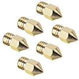 Witasm 6pcs 0.4mm Brass Extruder Nozzle Print Heads for MK8 Makerbot PLA ABS 3D Printers