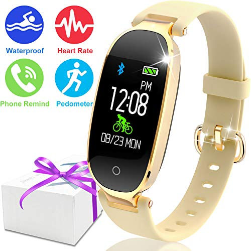 Fitness Tracker Watch, Bluetooth Women Smart Watch COLOR Screen,Waterproof HR Activity Tracker, Lady Wristband with 8 Sports Mode Sleep Monitor Kids Pedometer Outdoor iOS Android Mothers Day Gift