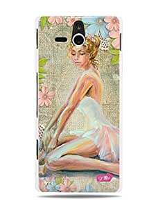 GRÜV Premium Case - 'Beautiful Art Artistic Painting : Ballerina Woman and Flowers' Design - Best Quality Designer Print on White Hard Cover - for Sony Ericsson Xperia U ST25i