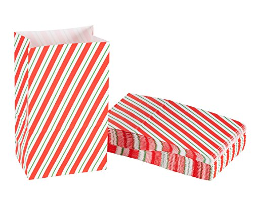 (Party Treat Bags - 36-Pack Gift Bags, Christmas Party Supplies, Paper Favor Bags, Recyclable Goodie Bags for Kids, Candy Cane Design, 5.2 x 8.7 x 3.3 Inches )
