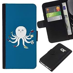 Planetar® Modelo colorido cuero carpeta tirón caso cubierta piel Holster Funda protección Para Samsung Galaxy S6 EDGE / SM-G925(NOT FOR S6!!!) / SM-G925(NOT FOR S6!!!) ( Funny Multitasking Octopus Squid )